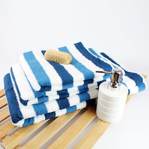 Luxury Miami Stripe Towels 100% Cotton Choice of Colours and Sizes Bathroom New