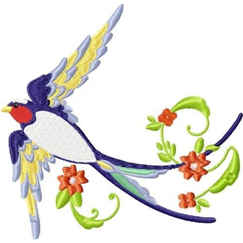 Embroidered Sweatshirt - Beautiful Birds PE16