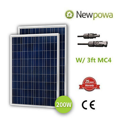 NewPowa High Quality 2pcs 100W 12V Poly Solar Panel 200 Watts Module W/ 3FT MC4