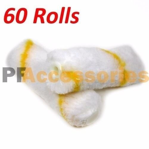"""60 Rolls 4"""" inch Mini Paint Roller Covers Refill Gold Stripe Soft Woven 1/2"""" Nap"""