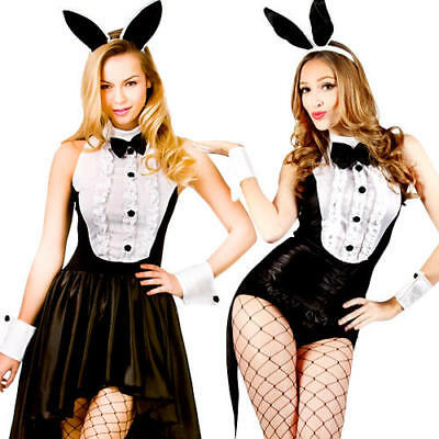 Hot Play Boy Bunny Rabbit Hostess Fancy Dress Easter Halloween Ladies Costumes ()