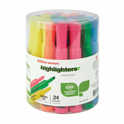 Office Depot Highlighters 100 Recycled Chisel-point Assorted Colors Pack Of 24
