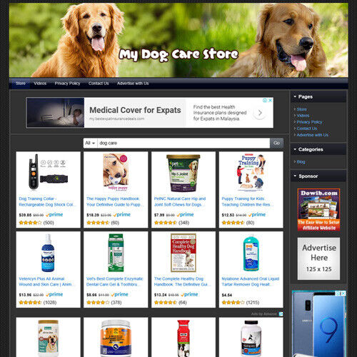 Dog Care Pet Store Online Business Website For Sale! Amazon + Clickbank Income!