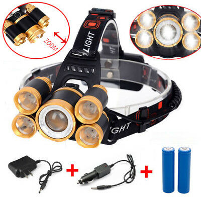80000LM 5-LED Zoom LED Rechargeable 18650 Headlamp Head Light Torch Charger US