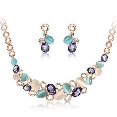 Twinkling Woman Flower Crystal Necklace Pendant Earring Set Prom Wedding Jewelry - Flower Jewelry Necklace Earring