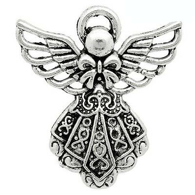 Packet of 10 x Antique Silver Tibetan 26mm Charms Pendants (Angel) ZX07090