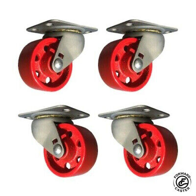 Vintage 2 Industrial Swivel Casters Set Of 4 Red Cast Iron Wheels