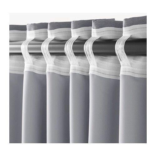 IKEA MARJUN Black-Out Curtains In 2-Tone Grey 145x300cm