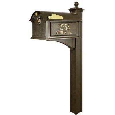 French Bronze Balmoral Streetside Monogram Mailbox & Post Package -