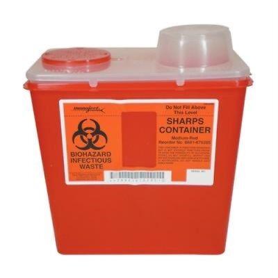 Monoject Medium 8 Quart Sharps Disposal Container - Chimney-top - Red