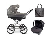 Silvercross sleepover pram with second stage seat and car seat