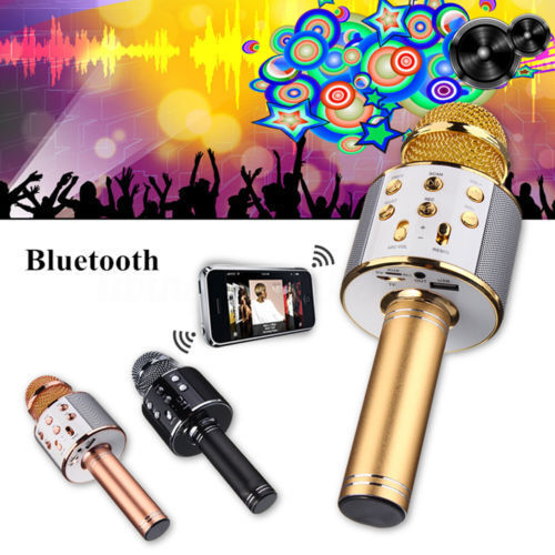 KTV- WS858 Wireless Karaoke Handheld Microphone USB Player Bluetooth Mic Speaker