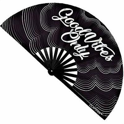 ClapFan Rave Fan Good Vibes Only Large Bamboo Loud Clack Folding Hand Fan for...