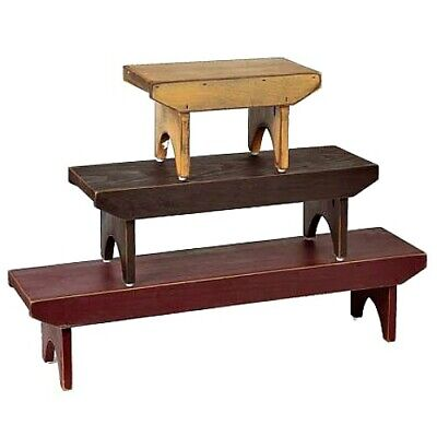 New Primitive Farmhouse SET 3 WOOD STACKING BENCH Rustic Riser Black Red Tan