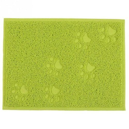 Green Square Shaped PVC Cat Dog Mat NonSlip Pet Food Water Bowl Feeding Placemat