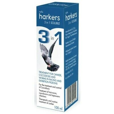 HARKERS 3 IN 1 SOLUBLE 100ML - COCCIDIOSIS, CANKER AND WORMS IN PIGEONS