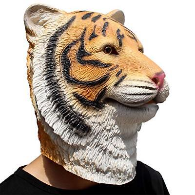 CreepyParty Deluxe Halloween Costume Party Latex Animal Full Head Mask Tiger