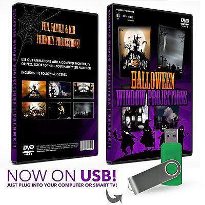 Kid Friendly Halloween TV / Projection USB Animation Decorations!