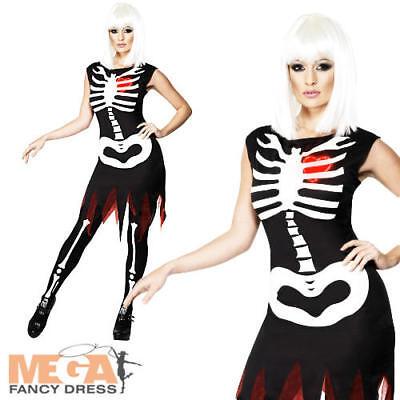 Bright Bones Ladies Halloween Fancy Dress Adults Skeleton Womens Costume Outfit - Bright Bones Halloween Costume