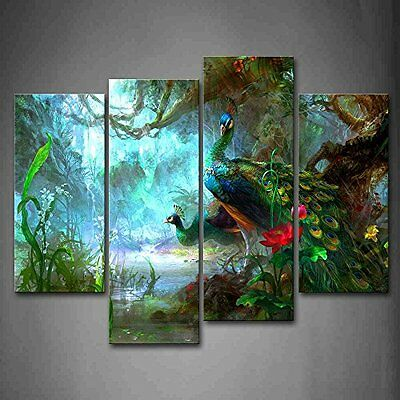 Peacock Wall Art Painting Picture Print Canvas Bird Animal Photo Home Decor Gift