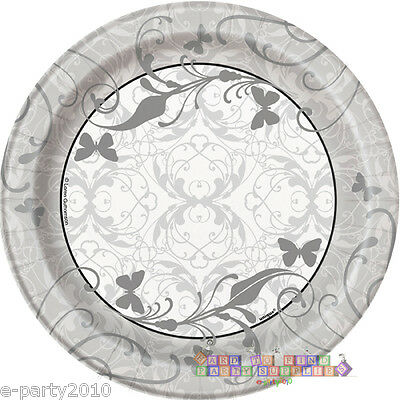Wedding Cake Paper Plates (VICTORIAN WEDDING SMALL PAPER PLATES (8) ~ Bridal Party Supplies Cake)