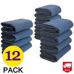 12PCs Moving Blankets Deluxe Pro (45lb/dz) Quilted Shipping Furniture Pads 80x72