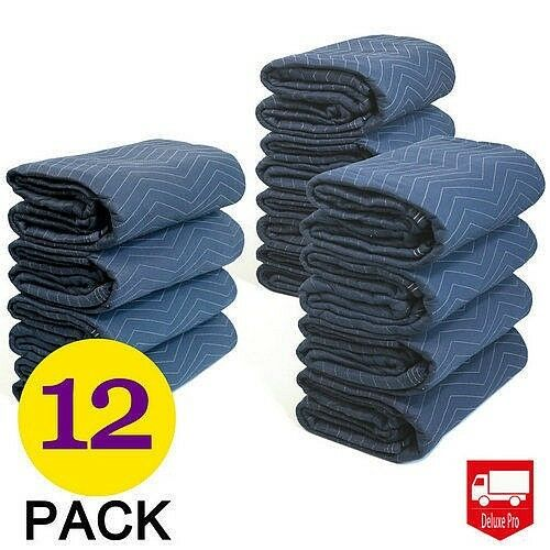 12Pcs Moving Blankets 80x72 Deluxe Pro (45lb/dz) Quilted Shipping Furniture Pads