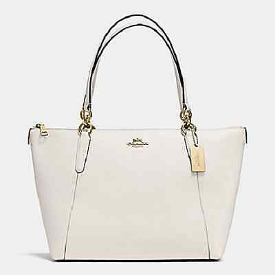 New COACH F57526 AVA Crossgrain Leather Tote Handbag Purse Shoulder Bag White