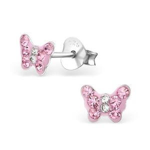 Childrens Sterling Silver Butterfly Stud Earrings with Light Pink Crystals Boxed