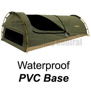 OZTRAIL MITCHELL (PVC FLOOR) KING SINGLE CANVAS SWAG WITH WATERPROOF PVC BASE