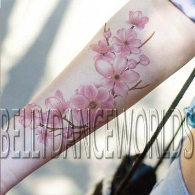 (CHERRY BLOSSOM FLOWER BRANCH PINK FLORAL TEMPORARY TATTOO WATERPROOF STICKER NEW)
