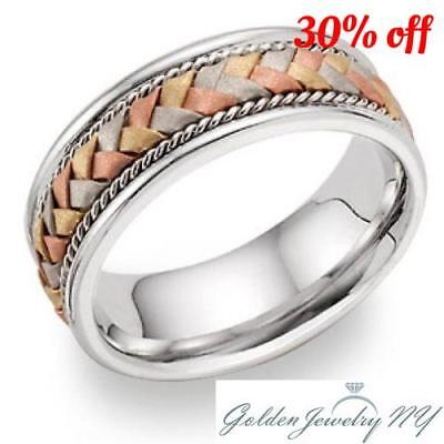 Mens Womens Solid 14K Tri-color Handmade Comfort Fit Wedding Band 6MM size 4-14  ()
