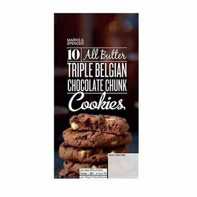 Triple Belgian Chocolate Chunk Cookies 225g - Marks & Spencer / M & S