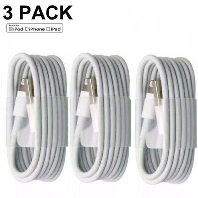 3 Pack USB Charger Cable Sync Cord For iPhone 6s 7 8 Plus X Xs Max -