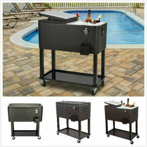 80QT Outdoor Rattan Party Rolling Cooler Cart /w Tray Ice Beer Beverage Chest US