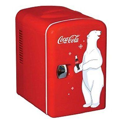 Small Red 6 Can Fridge 110V Beverage Harshly Coke Soda Chiller 4L Office Dorm 12V