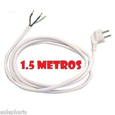 Conexion Manguera 1,5 Metros Blanca 3x1,5mm2 con enchufe Schucko y Cable blanco