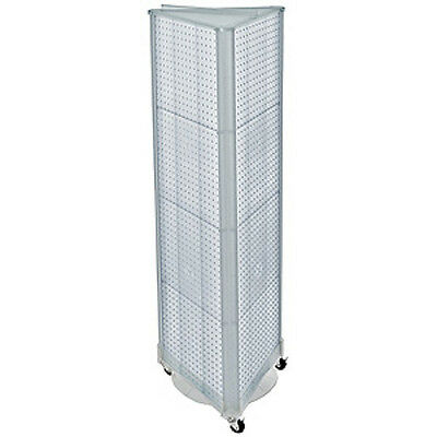3 Sided Pegboard Tower Floor Display With Wheeled Base 16 W X 60 H Inches