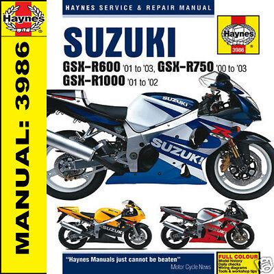 Haynes Manual Suzuki GSXR600 GSXR750 GSXR1000 2000-2003