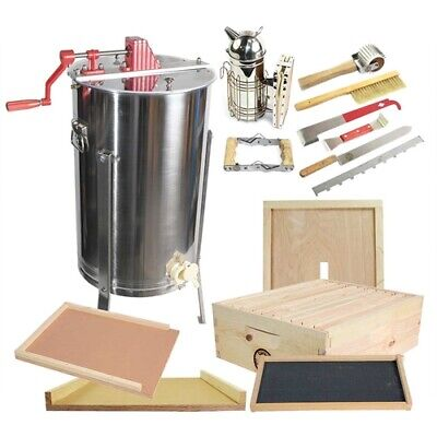 2 Frame Honey Extractor W Honey Bee Brood Box Beehive Tool Kit Glbsebroodcts1