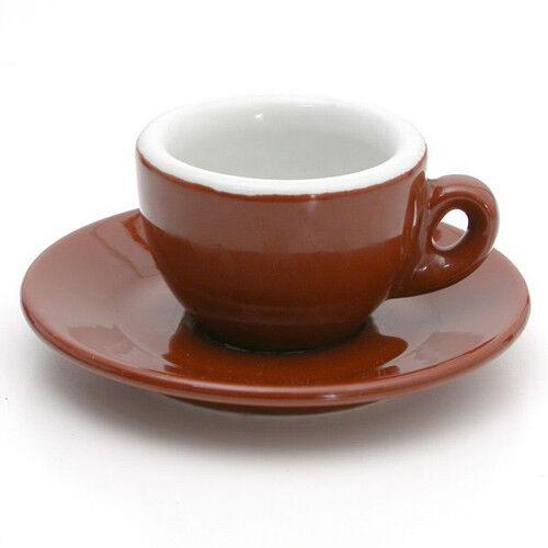 Nuova Poin Espresso Porcelain Set, Brown & White - PACK of 12