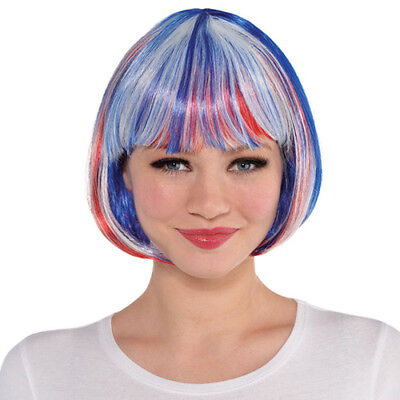 RED WHITE and BLUE BOB WIG for ADULTS or KID ~ Birthday Halloween Party Supplies - White Wig For Kids