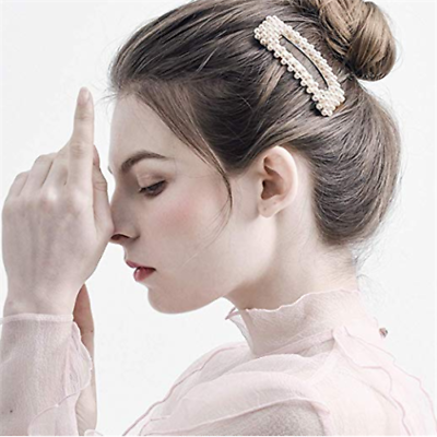 2pcs Elegant Barrettes Hair Clips Pearl Harpin Headdress for