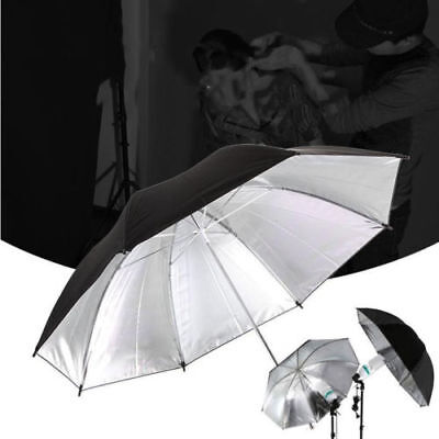 "Photo Studio Video Flash Reflector 33"" Reflective Umbrella Black Silver"
