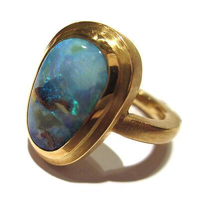 Ring aus 750 Gelbgold mit 1 Boulderopal, Handarbeit