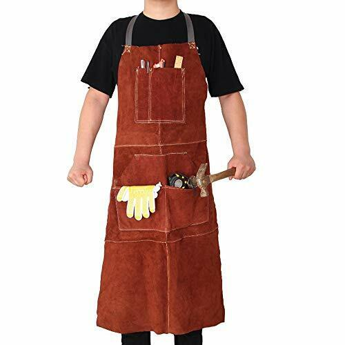 Leather Welding Work Shop Aprons – Heavy Duty Cowhide Adjustable Strap Heat
