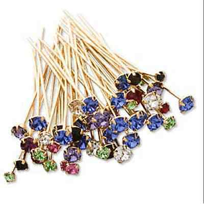 24 Headpin Swarovski crystal rhinestone mix goldplated