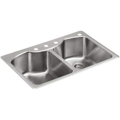 "KOHLER  33"" x 22"" Stainless Steel Double Equal Bowl Undermount 4-Hole Sink"