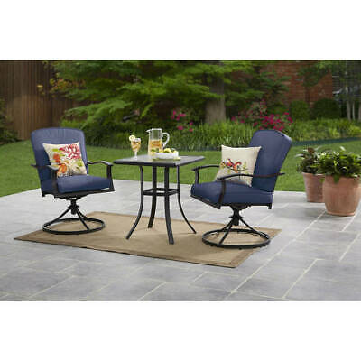 Garden Furniture - Patio Bistro Furniture 3 Piece Table Chairs Outdoor Porch Garden Backyard, Blue