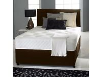 "DIVAN BED SET + LUXURY MEMORY FOAM 10"" DUAL MATTRESS +PLAIN HEADBOARD SIZE 3FT 4FT6 5FT KING"